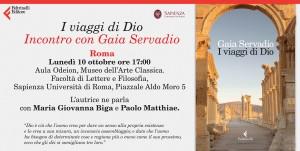 Lunedì 10 ottobre Incontro con Gaia Servadio a Roma