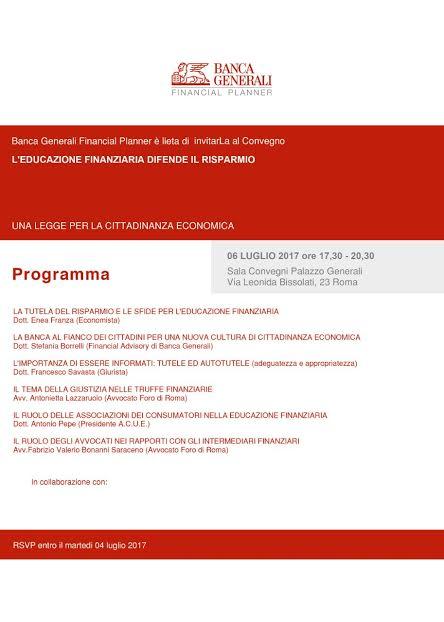 Banche risparmio e educazione finanziaria convegno delle for Enea finanziaria 2017